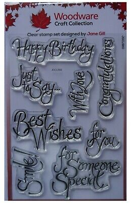 Woodware Clear Acrylic Stamp Set JUST TO SAY Happy Birthday Best Wishes Set Of 8 • 6.50£