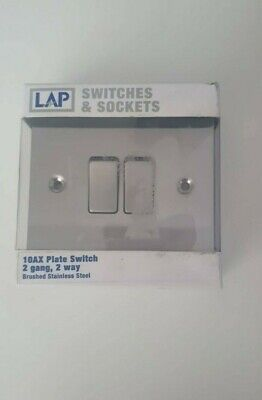 10ax Plate Switch 2 Gang Brushed Stainless Steel • 0.99£