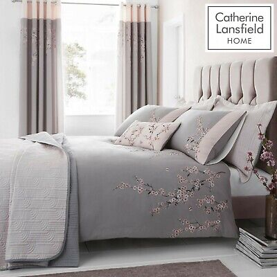 £26.99 • Buy Catherine Lansfield Embroidered Blossom Easy Care Duvet Bedding Collection Grey