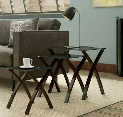 Modern Side/End Nested Tables Set Of 3 X-Shape Wood Legs Glass Top Coffee Lamp  • 127.95£