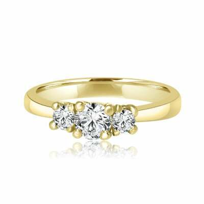 14K Yellow Gold Over 2.3CT Round Cut Diamond 3 Stones Engagement Wedding Ring • 99.99£