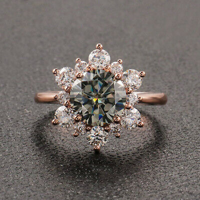 14K Rose Gold Over 2.66ct Round Cut Diamond Floral Engagement Wedding Ring • 99.99£