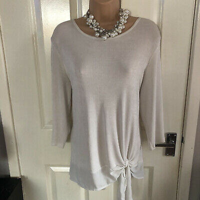 Stunning Easy To Wear Stretchy Cream Slinky Top  With Tie Front Size 18 • 3.50£