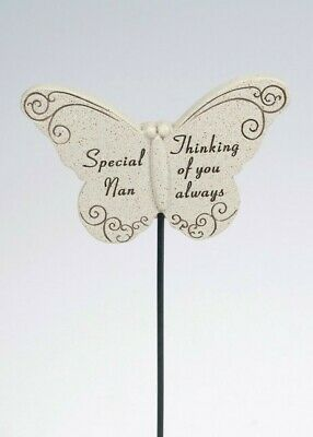 Thinking Of Special Nan Butterfly Memorial Tribute Stick Graveside Plaque • 3.99£