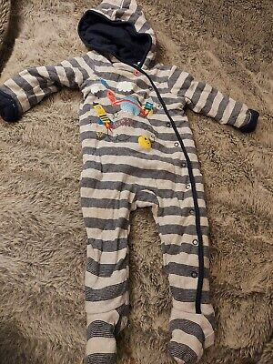 9 - 12 Months Blue Zoo Hooded Debenhams Pram Suit All-In-One Toddler • 1.10£