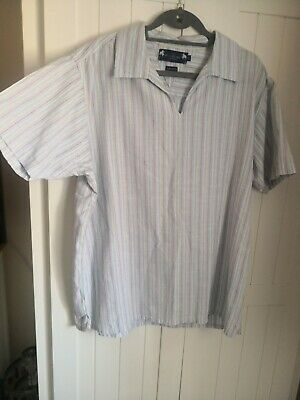 Mens Atlantic Bay Short Sleeve Shirt. Multicoloured. Striped. Pullover. Large • 2.49£