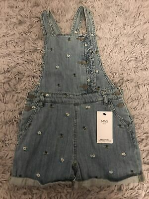 BNWT M&S Girls Blue Denim Short Dungerees. Age 9.10Years • 7£