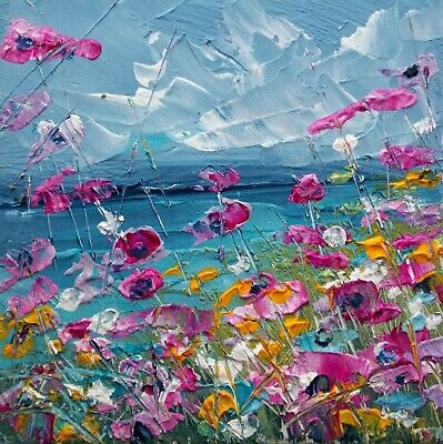 Coastal Wild Flowers, Sea / Landscape Art. Original Acrylic Painting. • 24£