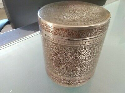 Antique Middle Eastern Silver Plate On Brass Engraved Birds + Flowers Lidded Pot • 48£