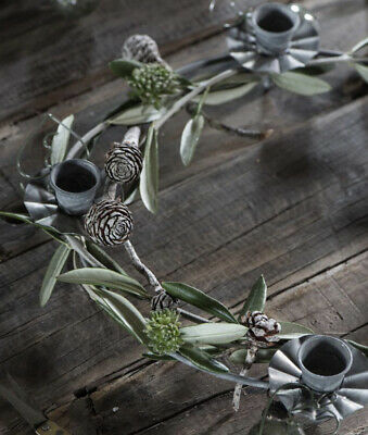 £13.95 • Buy Rustic Silver  Metal Round 4 Dinner Candle Holder Centrepiece BNWT