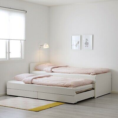 White Ikea Slakt Bed Frame With Underbed And Storage, 90x200 Cm - RRP £229 • 30£