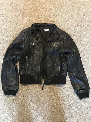Black Faux Leather Jacket Child Aged 9-10 • 1.30£