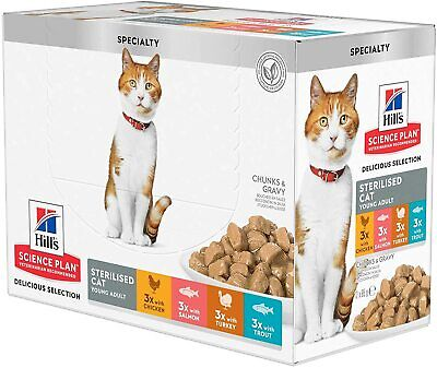 £12.99 • Buy Hill's Science Plan Wet Adult Sterilised Cat Food Pouches 12x85g Multipack