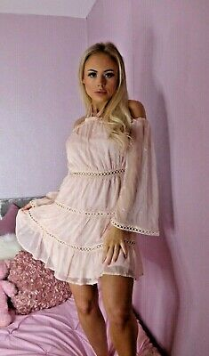AU16.25 • Buy New With Tags Pink Halterneck  Dress Size XS Party Embroidered