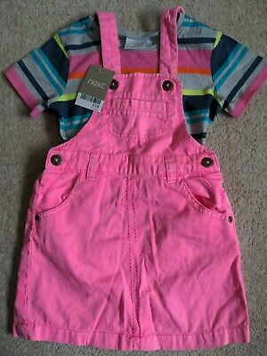 Next Girls Neon Pink Dungaree Dress And Stripey T-Shirt Size 3-4 Years Bnwt • 11.99£