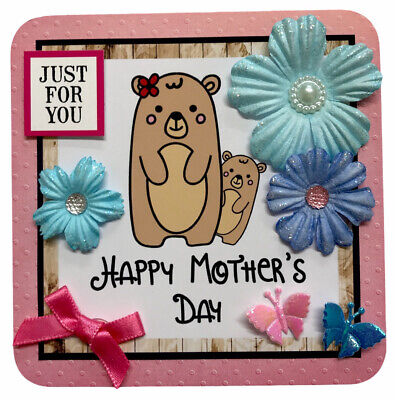 "£1.49 • Buy 1 X Cute Bears Mothers Day Topper 4"" Hand Made For Card Making 10.5cm (B303)"