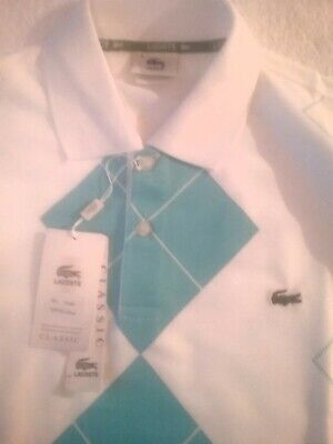 Lacoste Polo Shirt  White And Blue Size  L • 17£