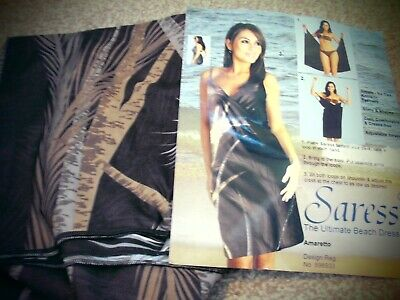 Saress Beach Sarong Dress In 1 Black Purples Browns Very Sexy Low Back 12 14 16  • 5.95£