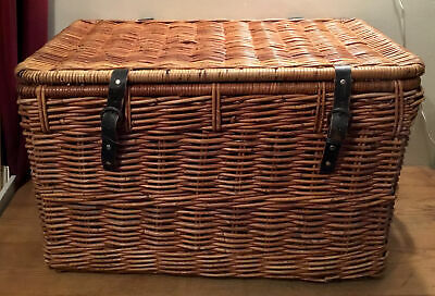 EXTRA LARGE VINTAGE WICKER BASKET IDEAL TOY-LOGS-BLANKETS STORAGE 75cmx46cmx47cm • 45£
