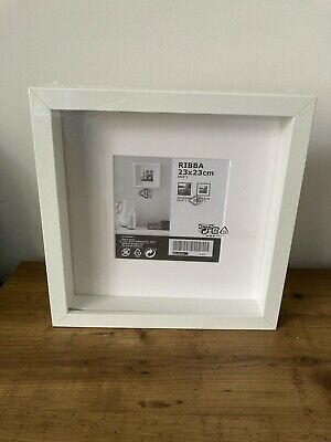 IKEA RIBBA Photo Frame Picture Display Square Box Deep 23x23cm 9x9in New White • 5.50£