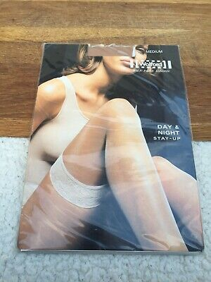 Wolford Day & Night Stay - Ups Medium Shade Caramel Transparent BNIP Hold Ups • 13£