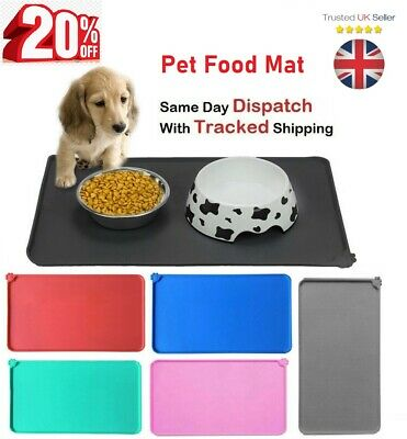 £5.89 • Buy 🔥Pet Food Mat Dog Cat Puppy Silicone Feeding Non Slip Waterproof Bowl Placemat