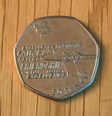 Rare Collectable Olympics 50p Fifty Pence Coin 2011 Rowing Good Circulated • 3.20£