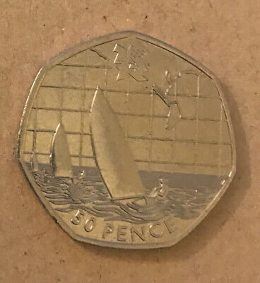 Rare Collectable Olympics 50p Fifty Pence Coin 2011 Sailing Good Circulated • 1.49£