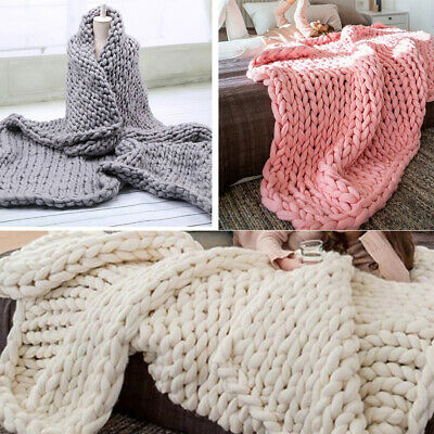 £16.95 • Buy Modern Winter Soft Chunky Cable Knit Hand Woven Sofa Chair Blanket Throw