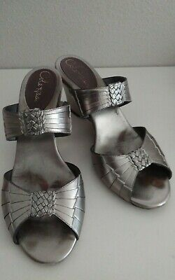 COLE HAAN PEWTER Leather Wedge SLIP ON Shoes Size 8 • 15.57£