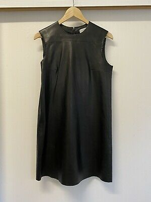 AU145 • Buy Scanlan Theodore Black Leather Shift Dress Size 8 - Moving House Cheap Sale!