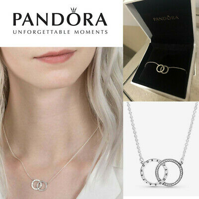 Pandora Sterling Silver Necklace ENTWINED CIRCLES SPARKLE 396235CZ Genuine Gift • 14.99£