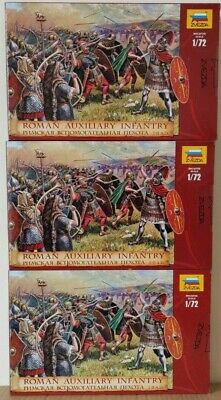 3 Boxes Of Zvezda 8052 Roman Auxiliary Infantry 1:72 Scale Unpainted Figures NEW • 30£