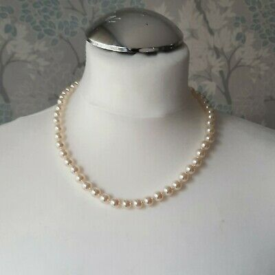 Costume Faux Pearl Knotted Necklace With Pretty Clasp 480cm Long Retro  • 0.99£