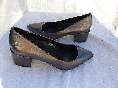 M&s Pewter Faux Leather Block Heel Court Shoes Size Uk 3.5 • 7.99£