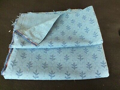 Two Remnants Of Small Patterned Cotton Blend Blue Furnishing Brocade • 5£