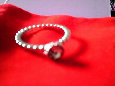 Ladies Silver Plated Crystal Ring Size R - Brand New Without Tags • 1£