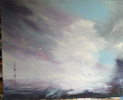 Original Oil Painting Of Abstract Seascape 'Sea Meets Sky' • 25£