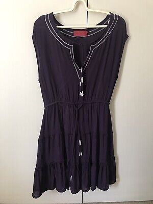AU3.88 • Buy Tigerlily Dress SiZe 8-10 Purple White Boho Made In India Fault Tear