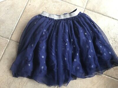 Joules Netted Blue And Silver Polka Dot Skirt • 5£