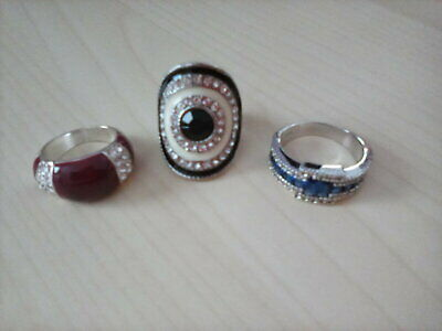 Ladies Dress Rings X 3 - Silver Coloured, Paste Stone Set - Med / Lg Size • 2.50£