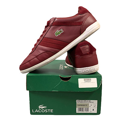 Lacoste Men's Sports Shoes Size Uk 8 Casual Burgundy Lace Up Trainers EUR 42 BOX • 27.99£