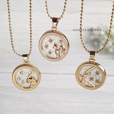£8.99 • Buy 12 Star Horoscope Astrology Zodiac Birth Sign Chain Necklace Gold Coin Gift UK