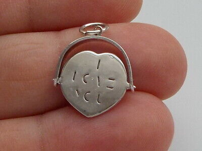 Lovely Vintage Sterling Silver  I Love You  Spinner Pendant • 20£