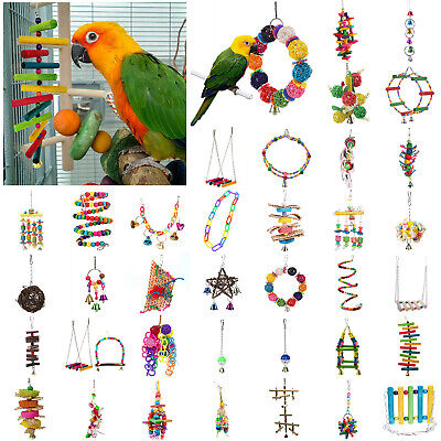 Parrot Hanging Swing Bird Chew Toy Harness Cage Toys Parakeet Cockatiel Budgie • 4.70£