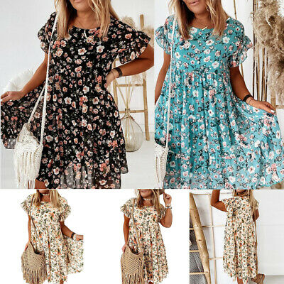 Women Floral A-Line Loose Midi Dress Crew Neck Short Sleeve Swing Dress PlusSize • 12.32£