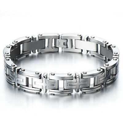 Heavy Men's 316L Stainless Steel Bracelet Cross Link Chain Bangle Silver 9 Inch • 13.99£