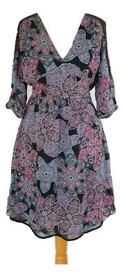 Women's Dress Size 10 Floral Purple Black Pink Blue OASIS 3/4 Sleeve  • 2.99£