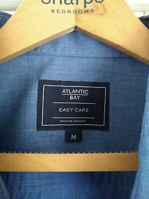 Men's Atlantic Bay Denim Blue, Short Sleeve Shirt Medium M&S  • 3£