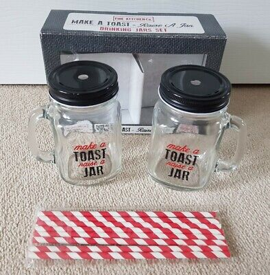 JAM JAR SET WITH LIDS His And Hers MAKE A TOAST Cocktail Glass GIFT Summer  • 9.99£